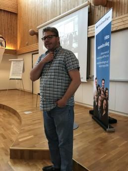 Niklas Forslund på Arbetsförmedlingen Enköping-Håbo välkomnar Lika Olika som håller i deras värdegrundsdag.